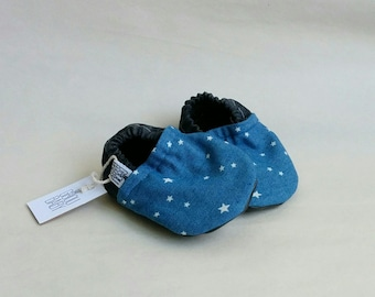 Baby shoes | blue denim stars pattern | non-skid sole