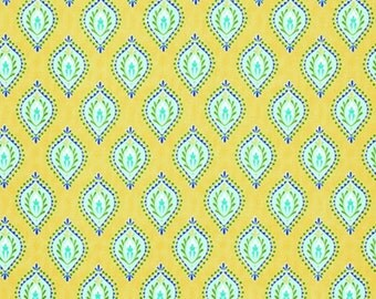 END OF BOLT Clearance Dena Designs Little Azalea Peony Aqua Fabric - Sale Fabric by the Yard - Yellow Blue Boho Fabric - 32 Inches