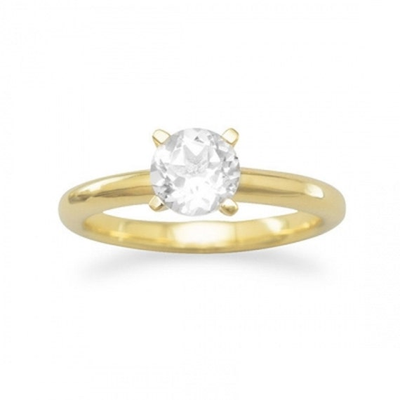 14 Karat Gold Plated White Topaz Solitaire Ring and or Rhodium Plated White Topaz Solitaire Ring