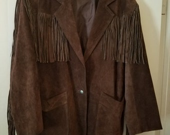 Vintage WINLET 80'S Brown Suede FRINGE Western Style Leather Jacket Size 1X