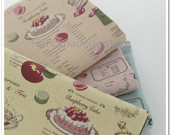 French Macaron Fabric, Sweet Macaroon Dessert Fabric in Pink/ Yellow/ Blue, Cake Candy Pie Strawberry Patisserie Fabric (JJ67)