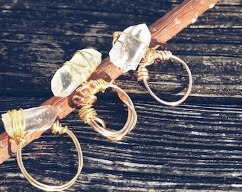 Handmade wire wrapped crystal rings