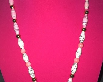 Pink Rose Paper Bead Necklace