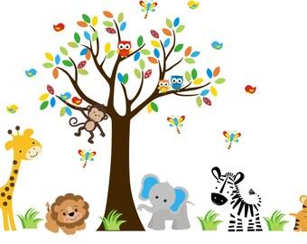 "Jungle Wall Decals - Safari Wall Decals - Elephant Zebra Giraffe Lion Decals - Nursery Wall Stickers - Nursery Wall Decals - 84"" x 135"""