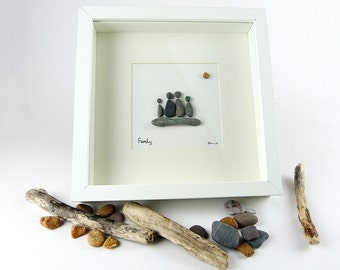 Pebble Art - Pebble Picture - Wall Art - Glass Art - Family Gift - Mothers gift - Beach Art - Beach Theme - Family Art