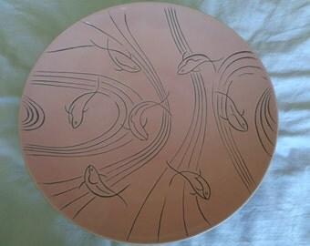 "Vintage California Pottery 1950's ROSELANE OF PASADENA  ""Dolphin"" Fish Pattern Bowl Retro Mid Century"