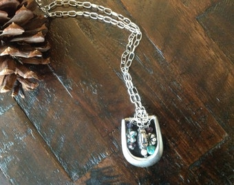 Silver belt buckle necklace with charms