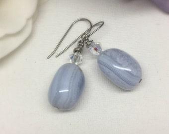 Frozen - Blue Lace Agate & Swarovski Crystal earrings