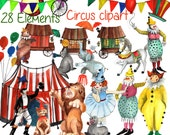 "Circus Clipart: ""KIDS CLIP ART"" Vintage Circus Art Fun clowns birthday party clipart invitation clipart  carnival clip art party graphics"