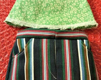 Green floral Top and Wide striped Skirt fits American Girl