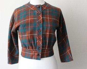1970s Vintage Plaid Light Weight Wool Coat Size Small