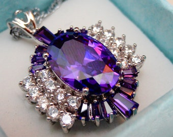 Noble Amethyst and White Topaz Pendant SALE