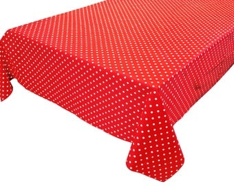 Cotton Table Cloth Polka Dots / Spots Small Dots White on Red