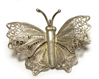 Sterling Filigree Butterfly Pendant Silver Insect Brooch 1940s Vintage Tiny Lace Wire Work Pin