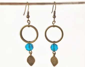 Earrings antique brass turquoise pearls