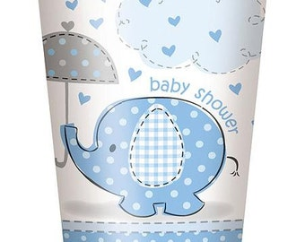 """7"""" Blue Elephant Baby Shower paper cups , 8pk"""