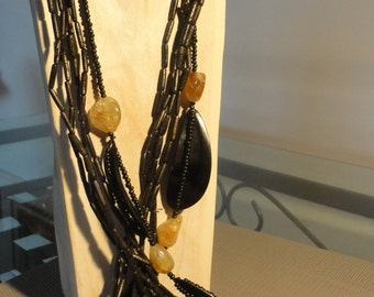 Wood Necklace with citrine
