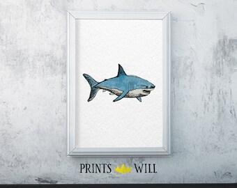 Printable Watercolor Shark | Instant Download | Printable Art | Nursery Art | Wall Decor