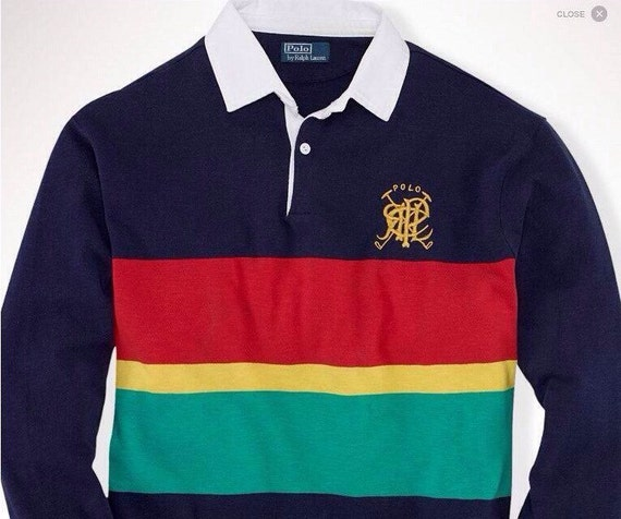 Vintage Valiant Rugby Shirt In Ultramarine Gold: 3xlt/XXXL TALL Polo Ralph Lauren Striped Color Blocked Gold