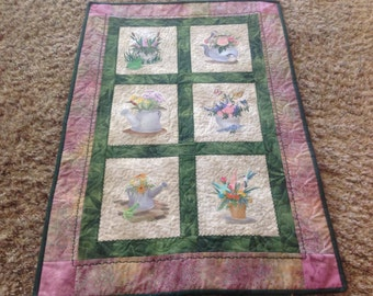 Quilt with Machine Embroidered Flower Pot Wall Hanging