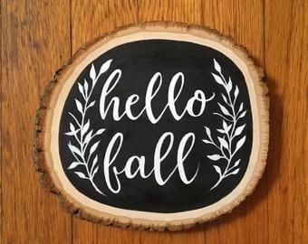 Fall Wood Sign, Fall Wall Art - Hello Fall Wood Slice Sign Decor