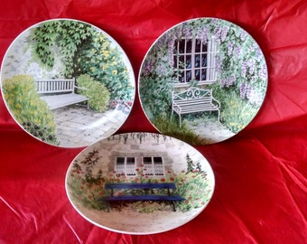 "set of 3 Formalities by Baum Bros. Garden Benches Collection 8"" plates; excellent condition; highly collectible"