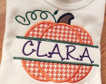 Pumpkin applique onesie or shirt - split name
