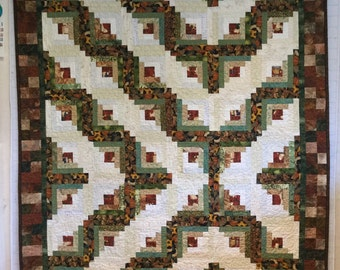 Log cabin lap or small bed quilt.