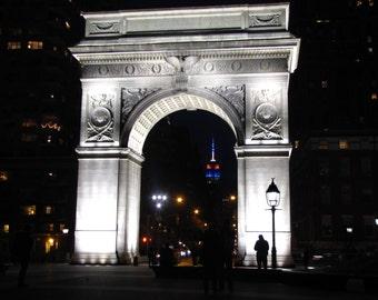 New York City photography, Washington Square Park, night landmark