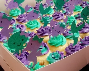 Under the sea cupcake toppers, purple and teal, crab, mermaid tail, seahorse, octopus, Under the sea birthday, Under the sea baby shower