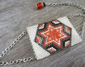 woven rectangle chic bracelet, ethnically motivated orange star