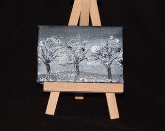 2x3 painting of tree scenery in black and white.