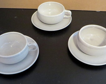 Russel Wright American Modern Gray Coffee Cups and Saucers