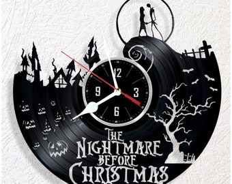 Vinyl wall clock Nightmare Before Christmas