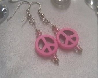 Pink Peace Sign Earrings