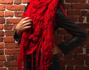 Shawl (scarf) «Red butterfly»