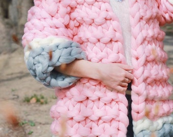 Super Chunky Cardigan, Oversize Cardigan, Super Trendy, Warm Cardigan, Hand Knit Jacket , Merino wool coat, Wool jacket, Knitted, Knitting