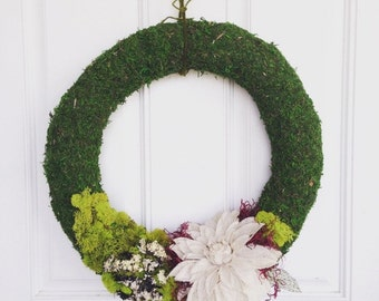 moss wreath with burlap flower
