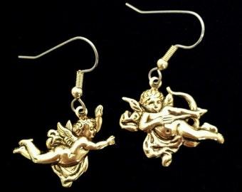 Cherubs Cupids Angel Earring 24 Karat Gold Plate Christmas Valentine Holiday EG107