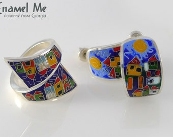 House ring, earrings set, Cloisonne jewelry, Cloisonne ring, cloisonne earrings, Enamel ring Enamel earrings, statement jewelry, Mothers day