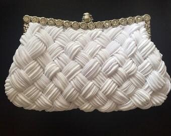 White wedding bridal clutch handbag