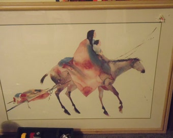 "CAROL GRIGG  ""Travois"" Rare orignal pastel watercolor painting"
