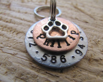dog tag//personalized dog tags//cat name tag//pet ID //custom pet id tag//hand stamped pet tag//hanstamped pet id tag//dachshund name tag