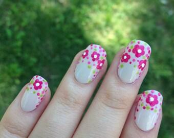 Floral Fake Nails