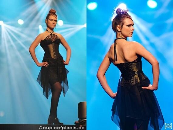 Evening dress with lacing range and asymmetric chiffon skirt waist cincher