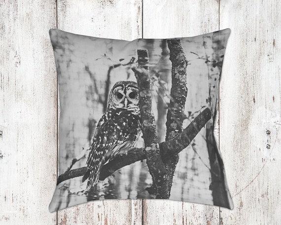 Owl Decorative Pillow - Throw Pillows - Black & White Decor - Owl Decor - Christmas Gifts - For Her - Sofa Pillows - Owls