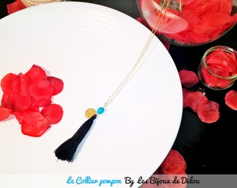 Blue tassel and Bead Necklace