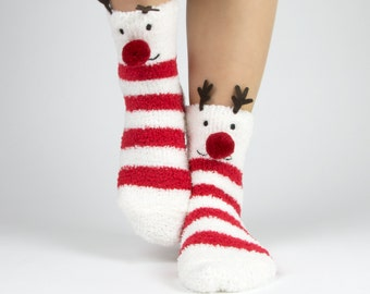 Reindeer and snowflake fuzzy socks with pom pom boxed gift set
