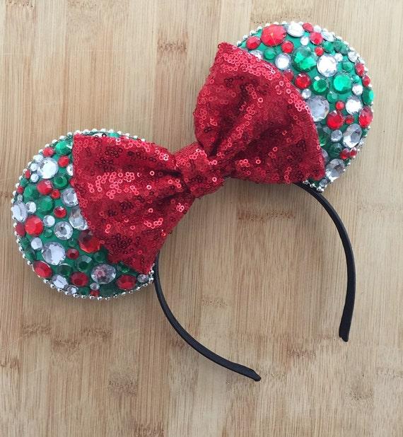 Christmas Ears, Sequin Christmas Ears,  Christmas Minnie Ears, Christmas Mouse Ears, Christmas Mickey Ears, Hidden Mickey Ears, MVMCP Ears