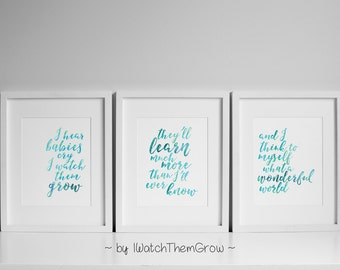 "Printable ""What A Wonderful World"" Nursery Wall Art, Set of 3 Aqua Watercolor Nursery Art, Armstrong Lyrics Art 8x10 INSTANT DOWNLOAD"